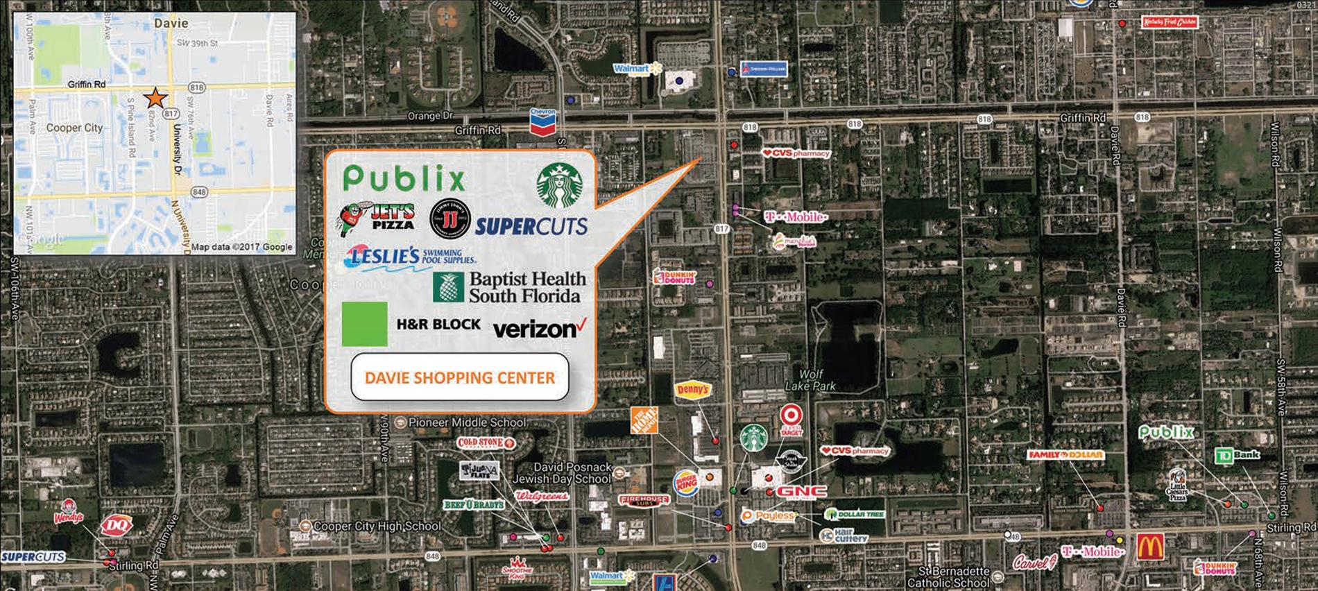 Davie Shopping Center trade area map