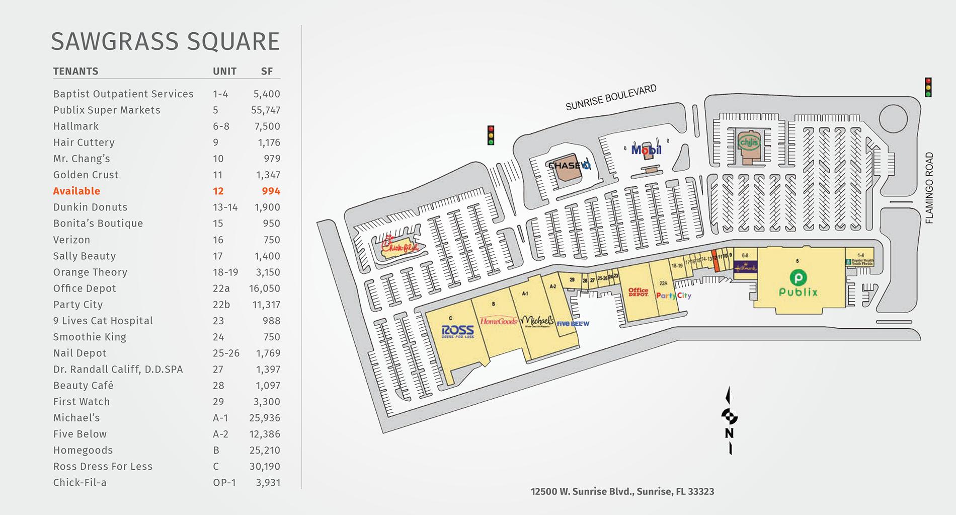 Sawgrass Square site map