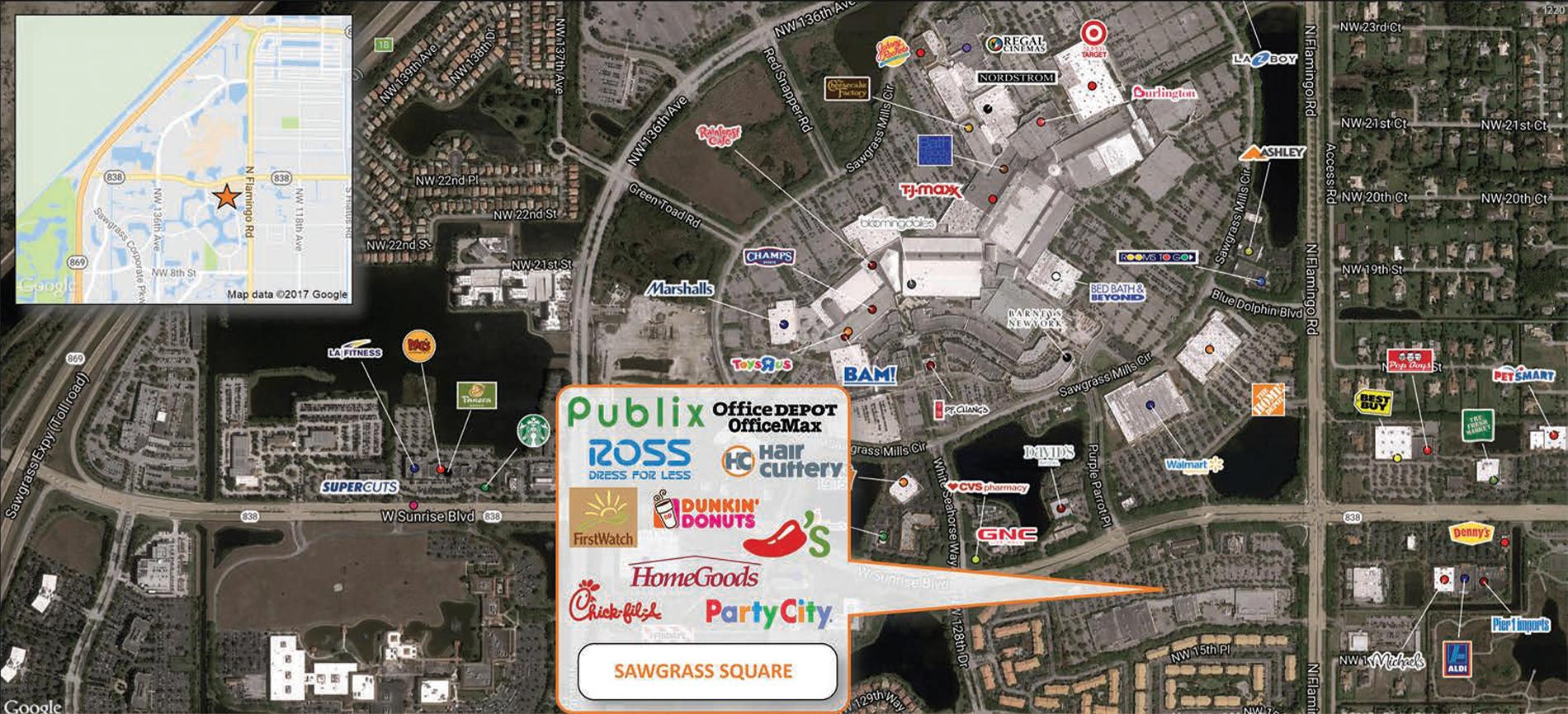 Sawgrass Square trade area map